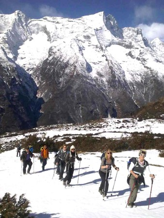 Rowan Nepal Everest Fam 2012, walking through snow