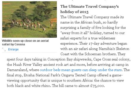 Extravagant Holidays Telegraph 2015 snip-it