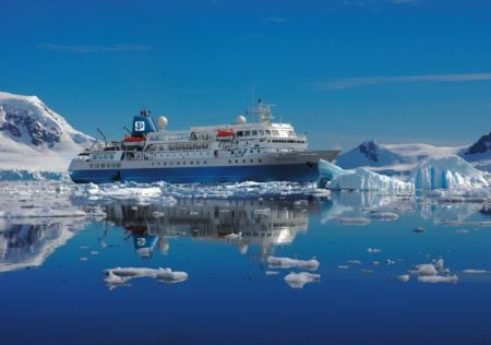 M/S Seaventure cruising the pristine waters of the Antarctic Peninsula