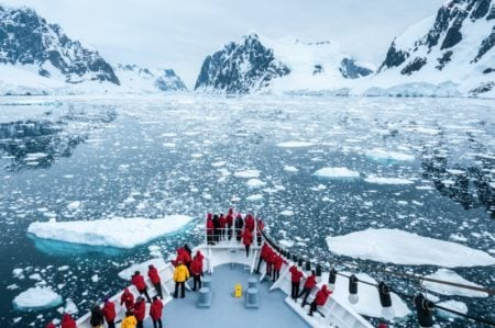 Bow of the M/S Seaventure arriving at the Antarctic Peninsula